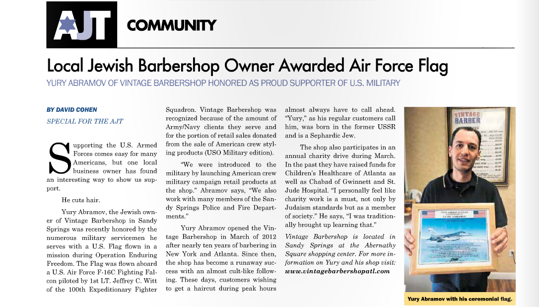 Vintage Barbershop Profiled in the Atlanta Jewish Times!